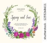 flower wreath. botanical... | Shutterstock .eps vector #1255268611