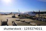 chek lap kok airport  hong kong ... | Shutterstock . vector #1255274011