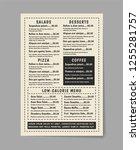 menu vintage food template.... | Shutterstock .eps vector #1255281757