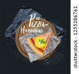 slice pizza on the wood board... | Shutterstock .eps vector #1255286761