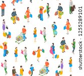 shopping people 3d seamless...   Shutterstock .eps vector #1255289101