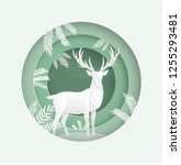 deer in the forest in the... | Shutterstock .eps vector #1255293481