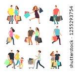 happy shopping people. man ... | Shutterstock . vector #1255293754