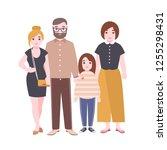 portrait of cute loving family. ... | Shutterstock .eps vector #1255298431