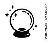 magic crystal ball icon. black... | Shutterstock .eps vector #1255307314