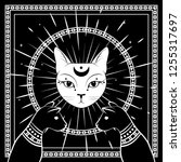 Stock vector black cats cat face with moon on night sky with ornamental round frame magic occult symbols 1255317697