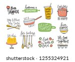 set of phrases handwritten with ... | Shutterstock .eps vector #1255324921