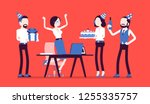 birthday party in the office.... | Shutterstock .eps vector #1255335757