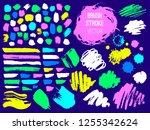 set trend stroke spot blod.... | Shutterstock .eps vector #1255342624