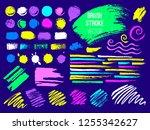 set trend stroke spot blod.... | Shutterstock .eps vector #1255342627