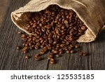 coffee bag with coffee beans on ... | Shutterstock . vector #125535185