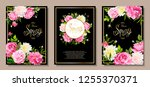 set of three floral backgrounds ... | Shutterstock .eps vector #1255370371