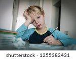 little boy tired stressed of... | Shutterstock . vector #1255382431