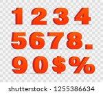 3d red metallic letter. 0  1  2 ... | Shutterstock .eps vector #1255386634