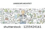landscape architect with site... | Shutterstock .eps vector #1255424161