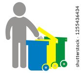 sorted waste  person and three...   Shutterstock .eps vector #1255436434