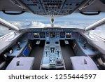 cockpit of civil airliner... | Shutterstock . vector #1255444597