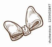 ribbon tied in cute monochrome... | Shutterstock .eps vector #1255453897