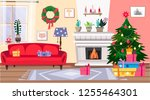 cozy christmas  interior with ... | Shutterstock .eps vector #1255464301