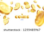 realistic gold coins explosion. ... | Shutterstock .eps vector #1255485967