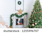 christmas interior in the... | Shutterstock . vector #1255496707