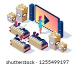 illustration for watch movie at ... | Shutterstock .eps vector #1255499197