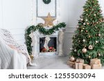 christmas interior in the... | Shutterstock . vector #1255503094