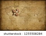small wood airplane over world...   Shutterstock . vector #1255508284