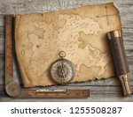 old medieval island map with...   Shutterstock . vector #1255508287