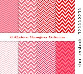 8 Seamless Chevron Patterns in Red, Deep Pink, Pale Pink and White. Pattern Swatches Included. Global colors - makes it easy to change all patterns in one click. Modern Valentine Day Backgrounds. | Shutterstock vector #125553215
