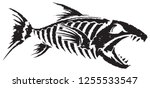 fish skeleton black and white | Shutterstock .eps vector #1255533547