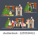people celebrating christmas... | Shutterstock .eps vector #1255534411
