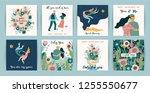 romantic set of cute... | Shutterstock .eps vector #1255550677