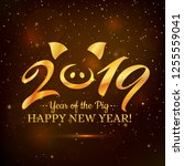 happy new year 2019  greeting... | Shutterstock .eps vector #1255559041