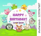 birthday greeting card with... | Shutterstock .eps vector #1255567687