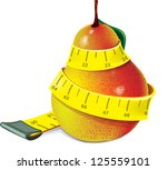 pear and cherry and measuring... | Shutterstock .eps vector #125559101