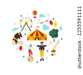 circus  carnival elements and... | Shutterstock .eps vector #1255591111
