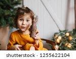 Cute Curly Toddler Girl Wearing ...