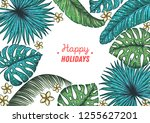 tropical design template. happy ... | Shutterstock .eps vector #1255627201