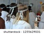 teenage girls preparing for a... | Shutterstock . vector #1255629031
