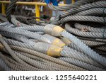 rigging rope on a quay in the... | Shutterstock . vector #1255640221
