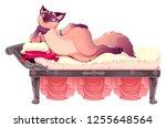 seductive kitten is lying on... | Shutterstock .eps vector #1255648564