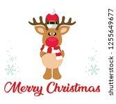 cartoon winter christmas deer... | Shutterstock .eps vector #1255649677
