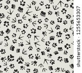 animal tracks black and white... | Shutterstock .eps vector #1255653307
