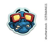 scared monkey sticker. isolated ...   Shutterstock .eps vector #1255664611