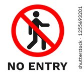 no entry sign. sticker with... | Shutterstock .eps vector #1255693201