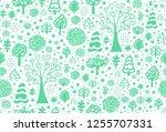 seamless vector green forest... | Shutterstock .eps vector #1255707331