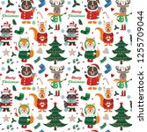 seamless pattern with forest... | Shutterstock .eps vector #1255709044