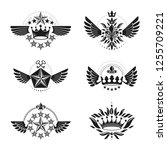 ancient crowns and military... | Shutterstock .eps vector #1255709221