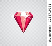 vector glossy red ruby symbol.... | Shutterstock .eps vector #1255719391